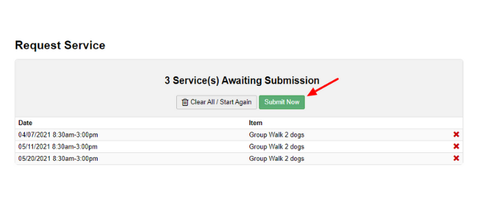 submit your dog walking request